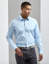 Mens Stretch Fit Poplin Long Sleeve Cotton Shirt